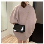 Color Matching Casual Small Square Bag Single Shoulder Bag Ladies Handbag Messenger Bag (Black)