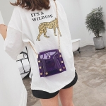 Small Square Bag Single Shoulder Bag Ladies Handbag Messenger Bag (Purple)