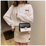 Color Matching Small Square Bag Chain Shoulder Bag Ladies Handbag Messenger Bag (Black)