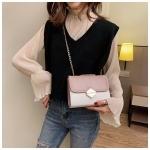 Color Matching Small Square Bag Chain Shoulder Bag Ladies Handbag Messenger Bag (Pink)