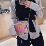 Laser Color Bat Shaped Round Bag Single Shoulder Bag Ladies Handbag Messenger Bag (Pink)