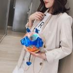 Laser Color Bat Shaped Round Bag Single Shoulder Bag Ladies Handbag Messenger Bag (Blue)