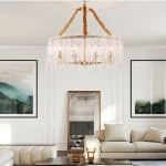 Copper Simple Light Luxury Living Room Lamp Bedroom Restaurant Creative Personality Atmospheric Crystal Lamps, 6 Heads