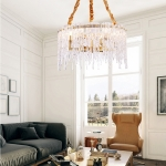 Copper Simple Light Luxury Living Room Lamp Bedroom Restaurant Creative Personality Atmospheric Crystal Lamps, 8 Heads