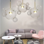 30W Creative Glass Ball Molecule Modern Lamp Personality Living Room Chandelier Soap Bubble Lamp, 14 Balls 3 Lamps,  Long Plate, Size: 120 x 84cm