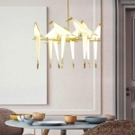 48W Warm White Light Modern Thousand Paper Cranes Acrylic Creative Restaurant Living Room Bar Bedroom Wall Lamp Bird Chandelier, 8 Heads