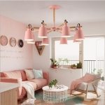 Living Room Super Bright Simple Modern Atmosphere Home Restaurant Bedroom Lamp Macaron Ceiling Lamp, 8 Heads (Pink)