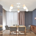 Living Room Simple Modern Atmosphere Home Bedroom Room Macaron Style LED Ceiling Lamp, 5 Heads White
