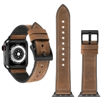 Crazy Horse Texture TPU + Stainless Steel Watch Strap for Apple Watch Series 3 & 2 & 1 38mm (Brown)