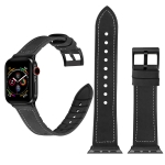Solid Color TPU + Stainless Steel Watch Strap for Apple Watch Series 3 & 2 & 1 38mm (Black)