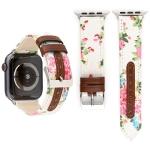 Denim Flower Pattern Genuine Leather Watch Strap for Apple Watch Series 4 44mm (White)