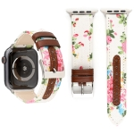 Denim Flower Pattern Genuine Leather Watch Strap for Apple Watch Series 3 & 2 & 1 42mm (White)