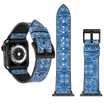 Flower Pattern TPU + Stainless Steel Watch Strap for Apple Watch Series 4 44mm (Blue)