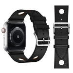 Fashionable Single Circle Three Holes Genuine Leather Watch Strap for Apple Watch Series 3 & 2 & 1 42mm (Black)