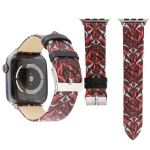 Thorns Printing Genuine Leather Watch Strap for Apple Watch Series 4 44mm (Red)