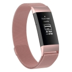 Stainless Steel Magnet Wrist Strap for FITBIT Charge 3, Size:Small, 187x18mm (Pink)