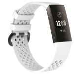 Square Hole Adjustable Sport Wrist Strap for FITBIT Charge 3 (White)