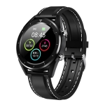 DT228 1.54inch IP68 Waterproof Leather Strap Smartwatch Bluetooth 4.2, Support Incoming Call Reminder / Blood Pressure Monitoring / Watch Payment (Black)