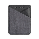 MUXMA Canvas Leather Pocket Card Mini Mobile Phone Case 3M Plastic Credit Card Set (Black)