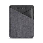 MUXMA Canvas Leather Pocket Card Mini Mobile Phone Case 3M Plastic Credit Card Set (Black)