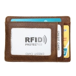 KB80 Antimagnetic RFID Crazy Horse Texture Oil Wax Leather Card Holder Wallet Billfold for Men and Women (Yellowish-brown)