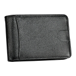 KB186 Antimagnetic RFID Mini Crazy Horse Texture Leather Billfold Card Wallet for Men and Women (Black)