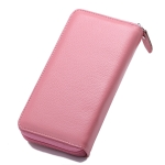 Litchi Texture Women Large Capacity RFID Hand Wallet Purse Phone Bag with Card Slots(Pink)