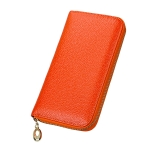 Litchi Texture Women Large Capacity RFID Hand Wallet Purse Phone Bag with Card Slots(Orange)