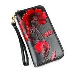 Women Flower Pattern Large Capacity RFID Hand Wallet Purse Phone Bag with Card Slots(Red)