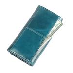3559 Antimagnetic RFID Multi-function Zipper Retro Top-grain Leather Lady Purse Wallet (Blue)