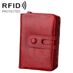 3577 Antimagnetic RFID Men and Women Crazy Horse Texture Leather Zipper Wallet (Red)