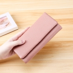 3591C Antimagnetic RFID Multi-function Litchi Texture Leather Wallet Large-capacity Purse (Pink)
