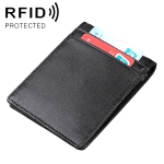 9037 Antimagnetic RFID Crazy Horse Texture Leather Wallet Billfold for Men and Women (Black)