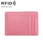 KB37 Antimagnetic RFID Litchi Texture Leather Card Holder Wallet Billfold for Men and Women (Pink)