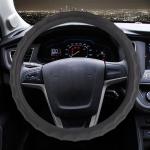 Universal Car Wave Matte Leather + Cotton Steering Wheel Cover, Diameter: 38cm(Black)