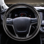 Universal Car Plating Matte Leather + Cotton Steering Wheel Cover, Diameter: 38cm (Black)