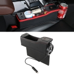 DERANFU Multi-function Car Co-pilot Position Dual USB Charging Digital Display Storage Box Crevice Water Cup Holder (Black)