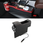 DERANFU Multi-function Car Main Driving Position Dual USB Charging Digital Display Storage Box Crevice Water Cup Holder (Black)