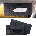 DERANFU 3 In 1 Lichee Texture Multi-function Car Hang Type Leather Towel Box with Card Slot & CD Slot (Black)