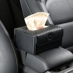 DERANFU Multi-function Car Backseat Hanger Armrest Box Leather Towel Box (Black)