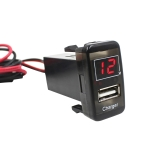 Car DC12V 2.1A USB Charger + Voltmeter for Toyota VIGO