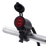 Motorcycle Faucet Dual USB Charger DC12-24V 4.2A IP66 with Aperture(Red Light)