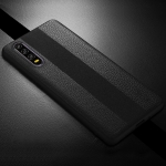SULADA Anti-slip TPU + Handmade Leather Case for Huawei P30 (Black)