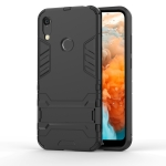 Shockproof PC + TPU Case for Huawei Y6 (2019), with Holder (Black)
