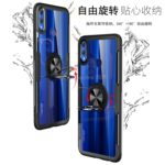 Scratchproof TPU + Acrylic Ring Bracket Protective Case for Huawei Honor 8X (Black)
