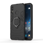 Shockproof PC + TPU Case with Magnetic Ring Holder for Huawei Y7 (2019) (Black)