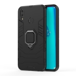 Shockproof PC + TPU Case with Magnetic Ring Holder for Huawei Y9 (2019) / Enjoy 9 Plus (Black)
