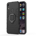 Shockproof PC + TPU Case with Magnetic Ring Holder for Huawei Y6 (2019) (Black)