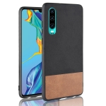 Shockproof Color Matching Denim PC + PU + TPU Case for Huawei P30 (Black)