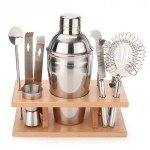 9 in 1 Stainless Steel Cocktail Shaker Tools Set with Wooden Mount, Capacity: 750ml